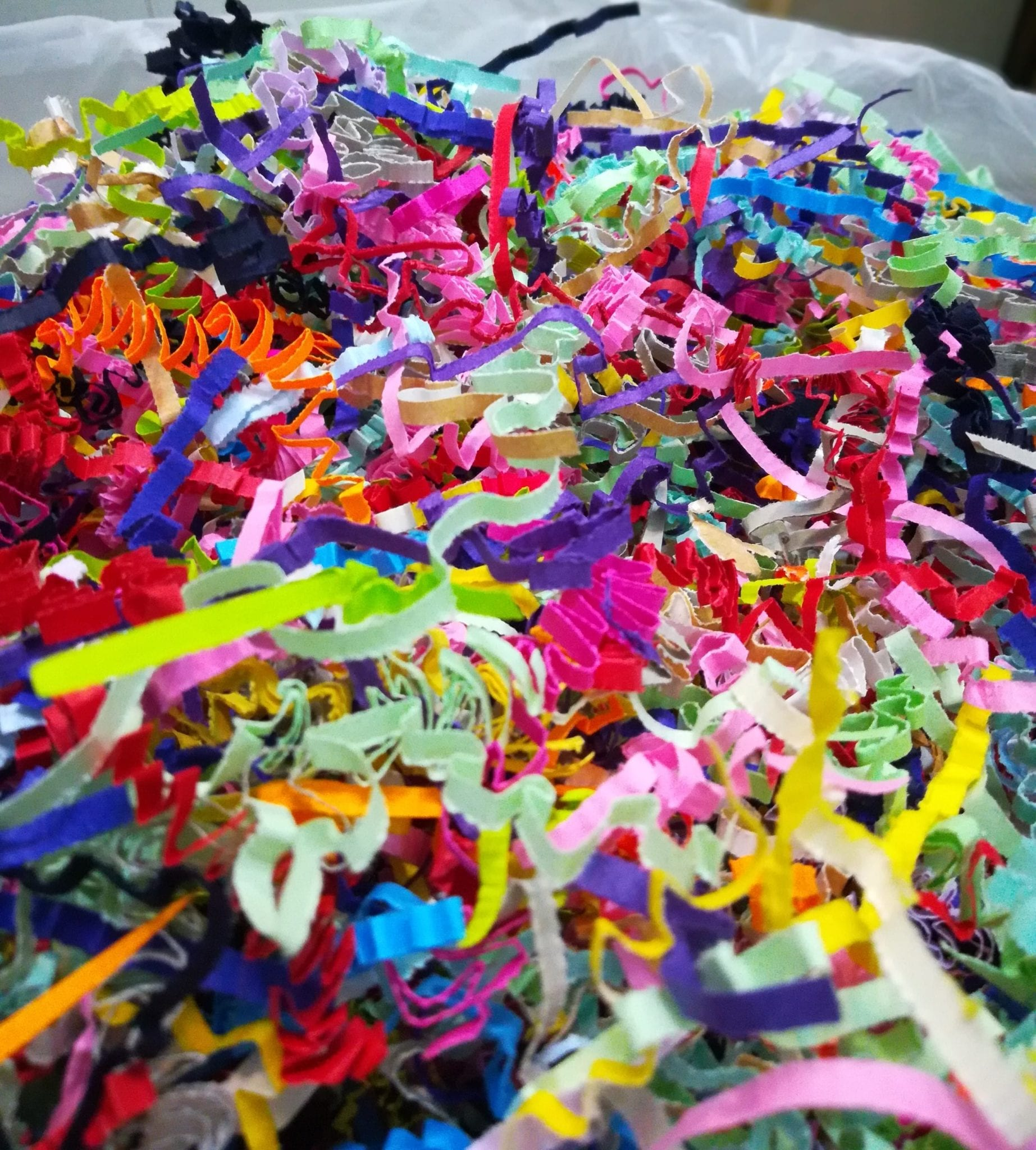 Mixed colours shredded paper